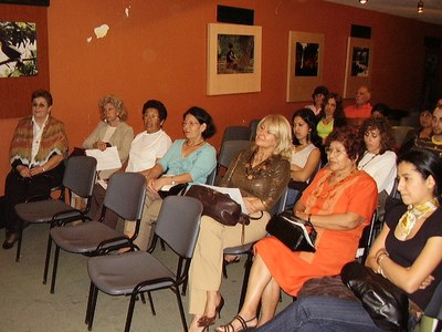 Public attending a presentation organized by Eusko Etxea Basque Center of Corpus Christi
