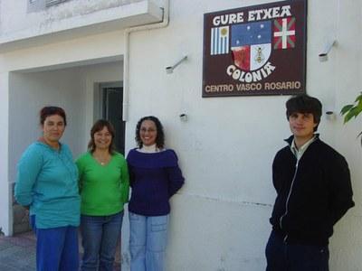 Member of Gure Etxea Basque Club of Rosario, Uruguay in front of their clubhouse (photo EuskalKultura.com)