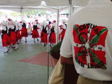 """Dancers of """"Boiseko Gazteak"""" performing at the San Ignatius festival"""