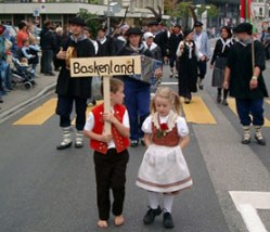 Members of the Swiss Basque Club parading representing the Basque Country and Culture at a festival in Herisau, Switzerland