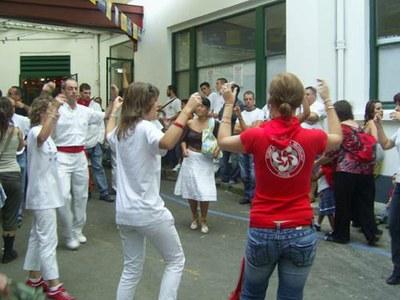 Dancing a fandango at the patio of the Paris Basque Club