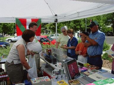 """Bernadette (Petoteguy) and Espen Jensen sell many products from the Basque Country at the """"Basque Market"""""""