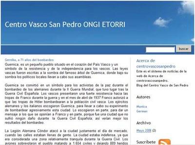 Portada del blog iniciado por la Euskal Etxea 'Ongi Etorri'