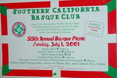 Imagen de archivo de un cartel anunciante del pic-nic anual del Southern California Eskualdun Kluba (foto EuskalKultura.com)