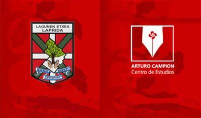Logos del Centro de Estudios Arturo Campion y del CV Lagunen Etxea de Laprida, que le da cobijo institucional