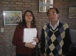 Paula Lerchundi, Basque language teacher, and Iñaki Osa, president of Danak Bat of Bolivar