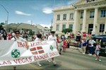 Las Vegas Basque Club and dance group members parading in front of the Elko County Court House in Elko, Nevada (photo EuskalKultura.com)