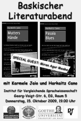 Presentación mañana en Fráncfort de literatura vasca en alemán, con M. A. Meabe, Harkaitz Cano y Karmele Jaio