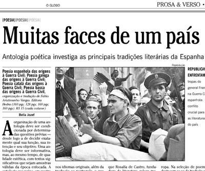 Reseña en O Globo sobre el libro de poesía vasca, catalana, gallega y castellana de Fabio Aristimunho