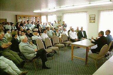 Bishop Karmelo Etxenagusia meeting with San Francisco Basques in 2000; they asked him to send a 'Euskaldun' priest