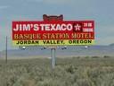 An advertisement of Jim Zatica's Basque Station & Motel in Jordan Valley, Oregon