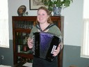Musician Denise Duhart from California plays both Basque trikitixa and cromatic accordion
