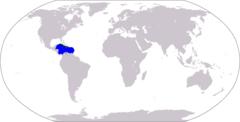 Mapa mundial mostrando el Caribe:Azul = Mar CaribeVerde = Antillas