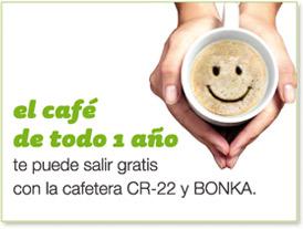 el café de todo 1 año te puede salir gratis con la cafetera CR-22 y BONKA.
