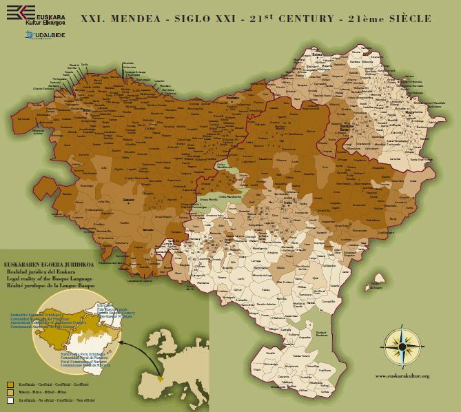 Internetez jaitsi daitekeen mapa batek Euskal Herrian euskaraz ikasten duten ikasleen ehunekoa biltzen du