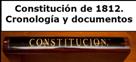 Imagen de una constitución que da acceso al apartado con información sobre los documentos y la cronología de la Constitución de 1812