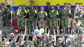 Imagen de los líderes de las FARC, entre ellos el fallecido Manuel Marulanda, 'Tirofijo'.