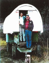 Pete and Freda in sheep wagon