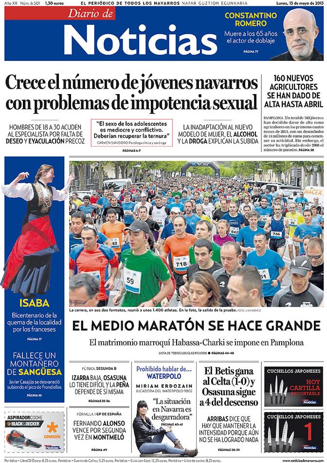 Portada Diario de Noticias 13-05-2013.