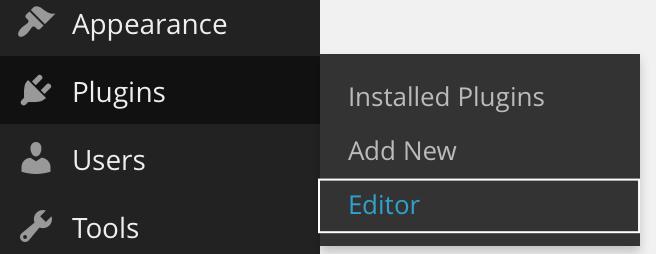 Left navigation menu with Editor menu item selected showing contrasting rectangle around menu item bounding box