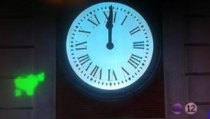 El logo de los presos en la retransmisión de las campanadas.