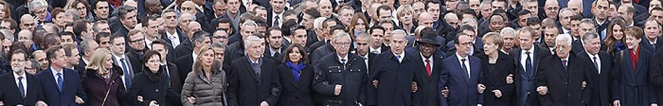 Los principales mandatarios extranjeros encabezan unidos la masiva manifestación celebrada ayer en París para condenar los últimos atentados yihadistas en Francia.