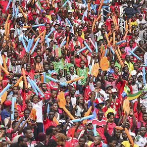 Seguidores de Congo, en el Bata Stadium.