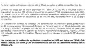 Página del informe del Banco de España donde se recoge la operación de crédito con Osasuna.