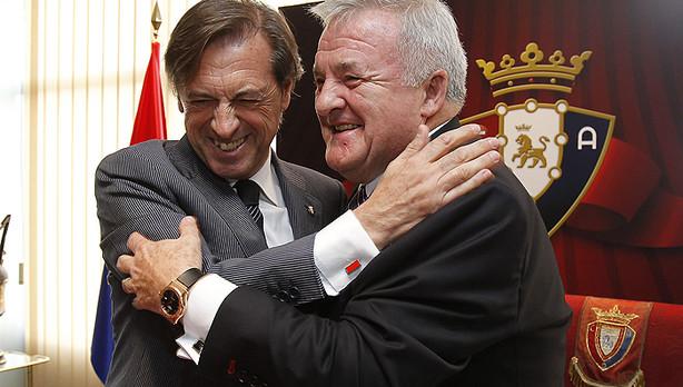Archanco e Izco, en la toma de posesión del primero como presidente de Osasuna, en 2012.