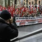 Manifestación en defensa del convenio colectivo sectorial del Metal de Bizkaia.
