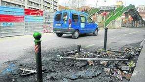 El contenedor se incendió en Doctor Díaz Enparantza.