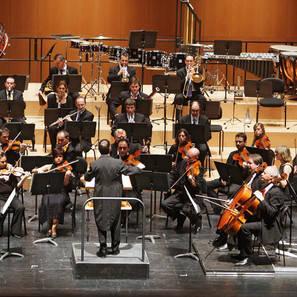 Parte de la Orquesta Sinfónica de Navarra, durante un concierto en Baluarte.
