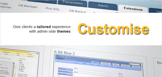 Customise: Give clients a tailored experience with admin-side themes