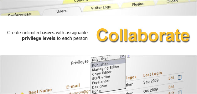 Collaborate: Create unlimited users with assignable privilege levels to each person.