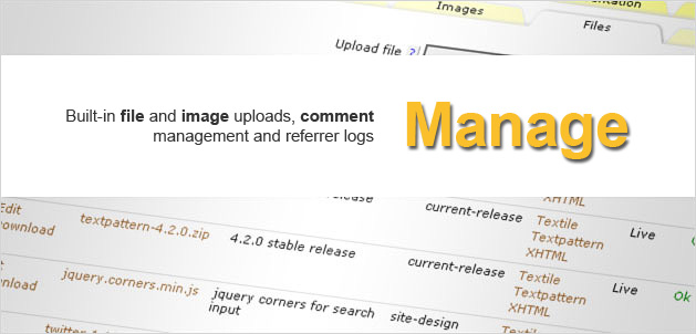 Manage: Built-in file and image uploads, comment management and referrer logs.
