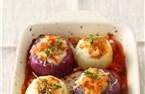 Cebollas con crema de berenjena