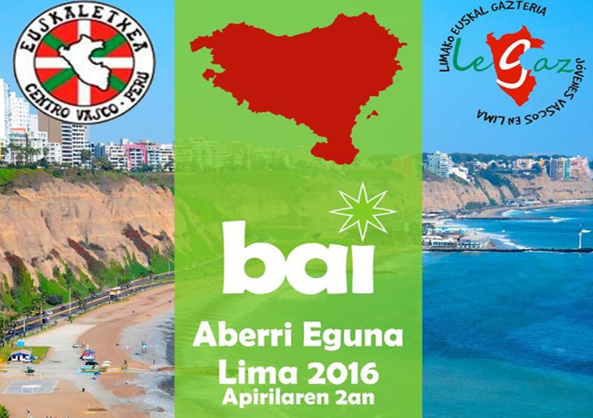 Promotional poster for the Aberri Eguna celebration in Lima, Peru