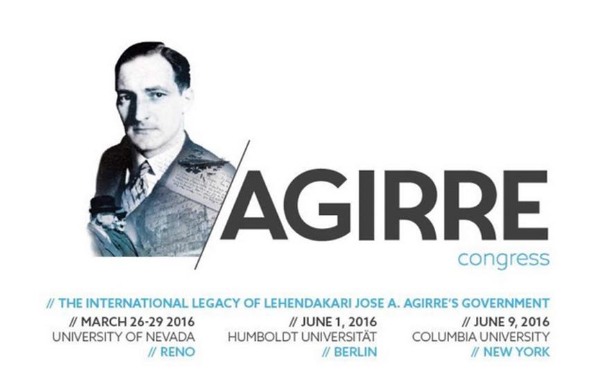 Promotional poster for the Conference on Lehendakari Jose Antonio Agirre