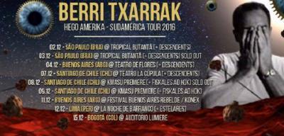 Cartel de la gira de Berri Txarrak por Sudamérica
