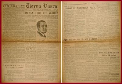 Agirre Lehendakariaren gabon mezuak Buenos Aireseko euskal prentsan