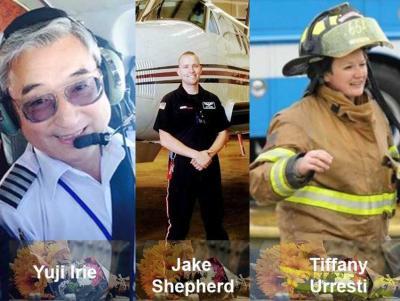 Los tres fallecidos de la tripulación, a los que habría que añadir el paciente (foto Ktvn.com).