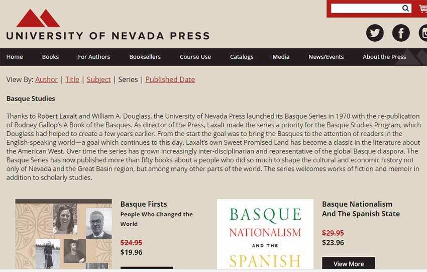 Aspecto de la página web del Servicio Editoril Universidad de Nevada Press