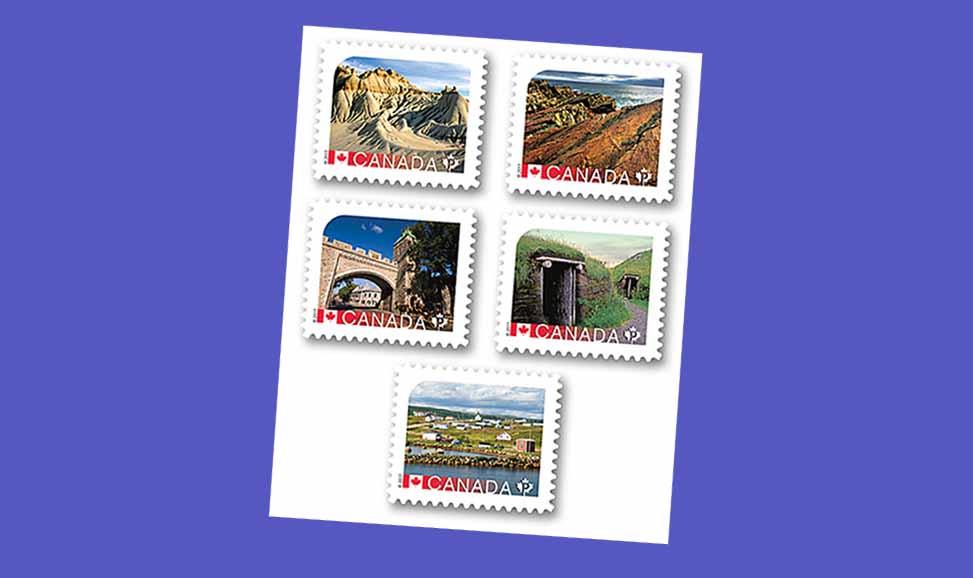 Los cinco sellos. El último de la fila es el que reproduce la Estación Ballenera Vasca de Red Bay