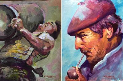 "Two paintings by Miguel Etxebarria: ""Euskal jai, Aizkolari"" and ""Basques in Patagonia"""