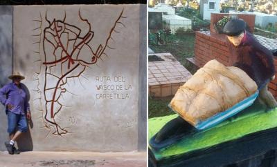 Puerto Iguazu herriaren 116. urteurrenean inauguratuko diren mural eta eskultura. Muralaren ondoan, egilea den Marcelo Moreyra