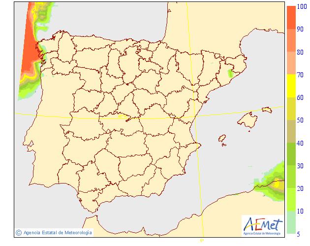 Probabilidad de precipitación ≥ 0.5 mm en la Península y Baleares