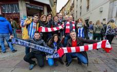 Buen ambiente entre las aficiones del Alavés y el Athletic
