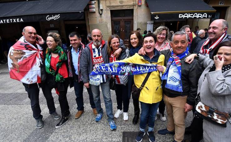 El derbi se siente en las calles de San Sebastián