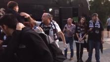 Hervelle y Redivo saludan a la afición en Santiago de Compostela