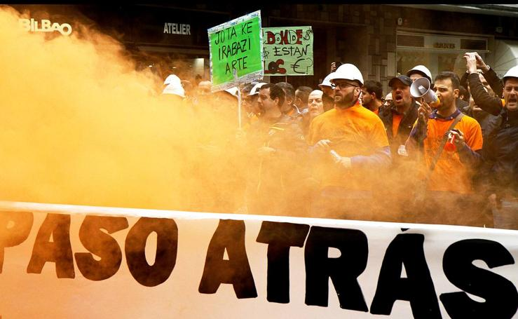 Protesta en Bilbao de los trabajadores de Tubos Reunidos